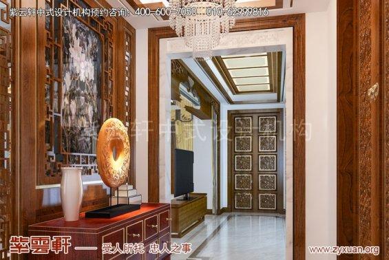 镇江张总别墅简约中式设计案例,门厅中式装修效果图