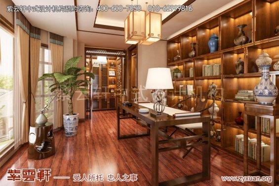 镇江张总别墅简约中式设计案例,书房中式装修效果图
