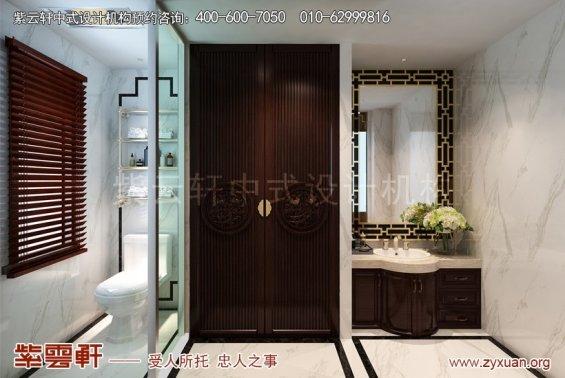 镇江张总别墅简约中式设计案例,卫生间中式装修效果图