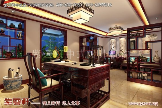 张仪村现代住宅中式设计案例,书房中式装修效果图