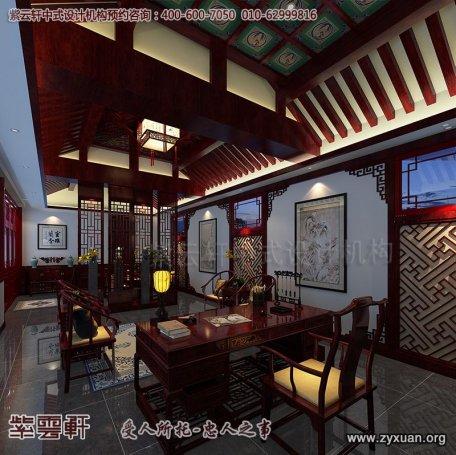 北京石景山四合院装修设计案例,书房中式装修效果图