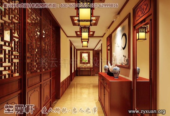 吉林长春精品住宅古典中式装修案例,玄关中式装修效果图