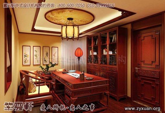 吉林长春精品住宅古典中式装修案例,书房中式装修效果图