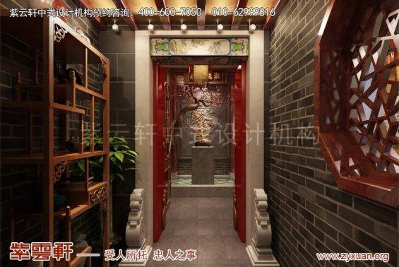 北京怀柔私人会所中式装修案例,门厅中式装修效果图