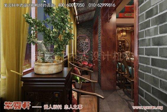 北京怀柔私人会所中式装修案例,过道中式装修效果图