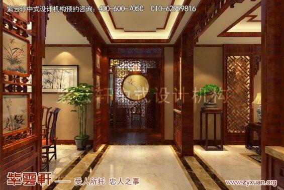 北京怀柔会所中式装修案例,过道中式装修效果图