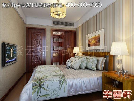 精品住宅新中式设计案例,卧室中式装修效果图