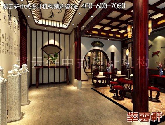 北京昌平金科王府中式设计案例,过道中式装修效果图