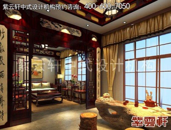 北京昌平金科王府中式设计案例,茶室中式装修效果图