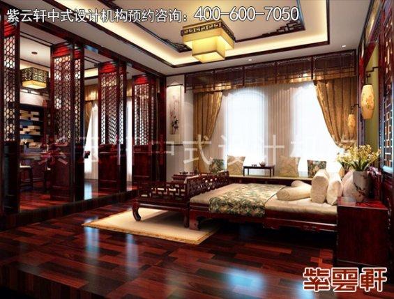 北京昌平金科王府中式设计案例,卧室中式装修效果图
