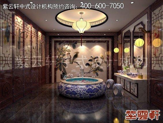 北京昌平金科王府中式设计案例,卫生间中式装修效果图
