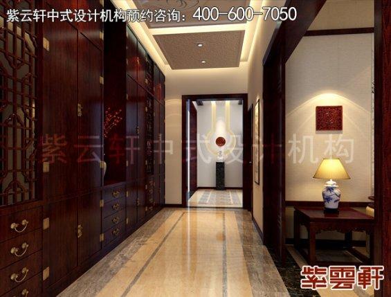 北京大兴杨总别墅现代中式设计案例,门厅中式装修效果图