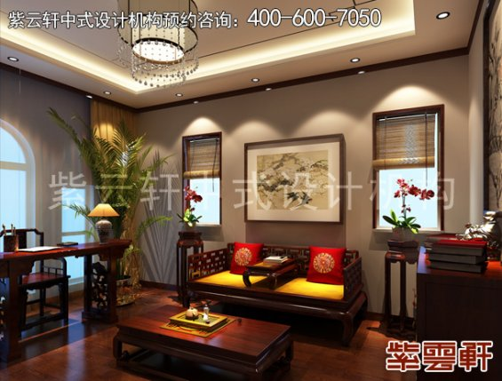 北京大兴杨总别墅现代中式设计案例,卧室中式装修效果图