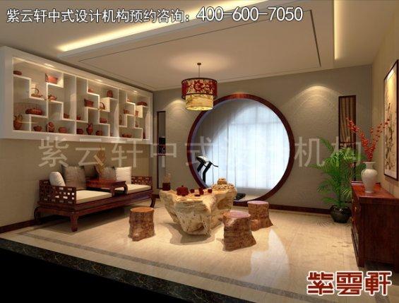 北京大兴杨总别墅现代中式设计案例,茶室中式装修效果图