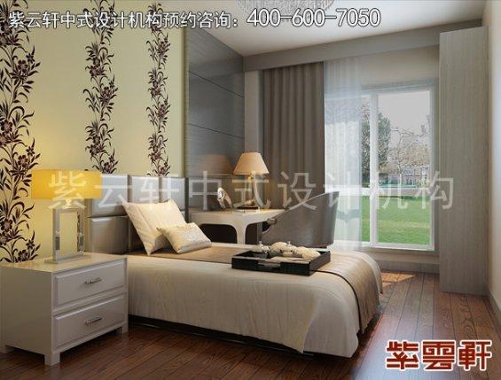 北京褐石园别墅现代中式设计案例,卧室中式装修效果图