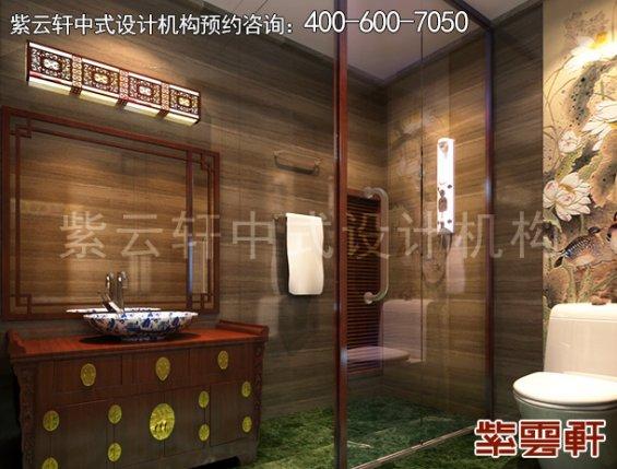 北京湾李总别墅古典中式设计案例,卫生间中式装修效果图