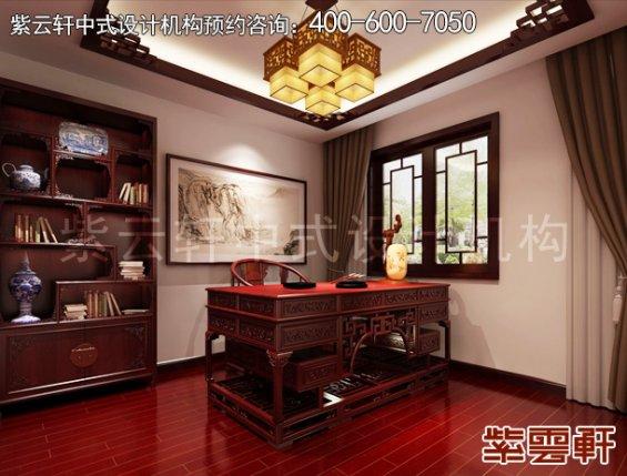 北京紫芦别墅简约中式设计,书房中式装修效果图
