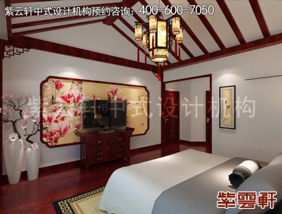 北京紫芦别墅简约中式设计,卧室中式装修效果图