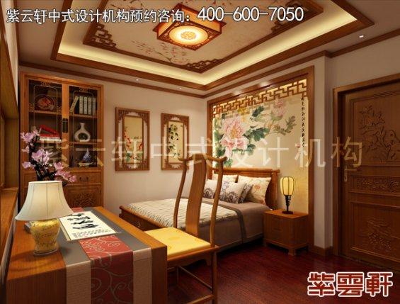 常州别墅古典中式设计案例,卧室中式装修效果图