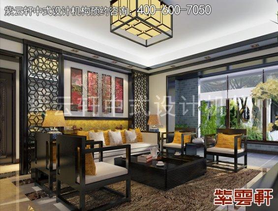 常州别墅新中式设计案例,客厅中式装修效果图