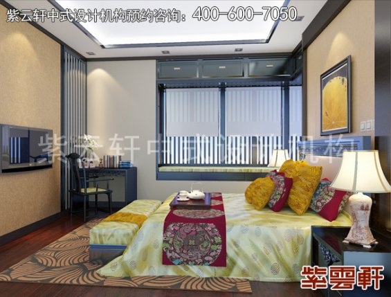 常州别墅新中式设计案例,卧室中式装修效果图