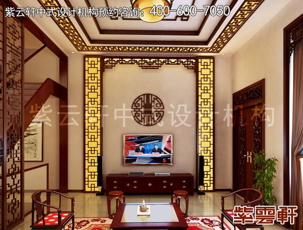 效果图 说明:中式装修客厅,空间高挑素雅,明式家具的清润,软装配饰的