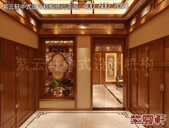 常州别墅古典中式设计案例,门厅中式装修效果图