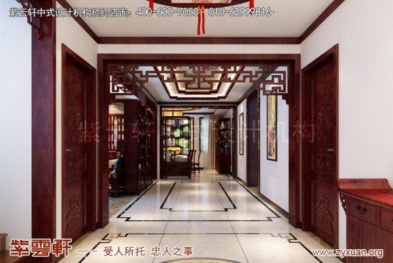 昆山世纪华城范总别墅简约中式设计,门厅中式装修效果图