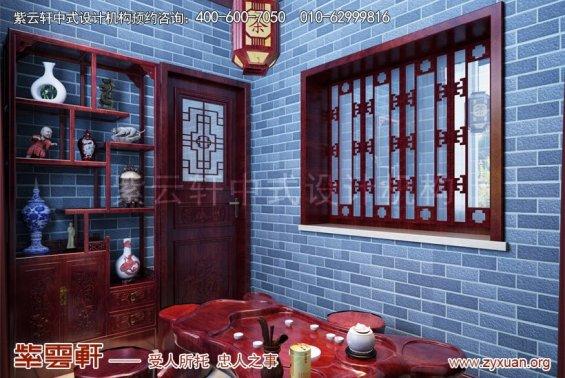 昆山世纪华城范总别墅简约中式设计,茶室中式装修效果图