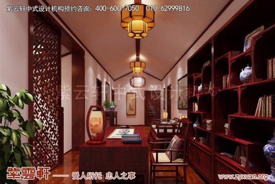 昆山世纪华城范总别墅简约中式设计,书房中式装修效果图