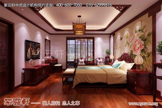 昆山世纪华城范总别墅简约中式设计,卧室中式装修效果图