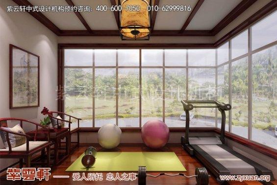 昆山世纪华城范总别墅简约中式设计,休闲室中式装修效果图