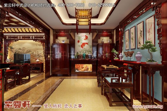 北京御汤山别墅中式装修效果图之东方艺术美,门厅中式设计图