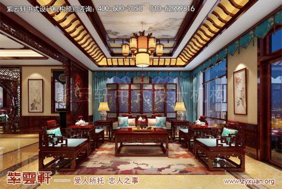 北京御汤山别墅中式装修效果图之东方艺术美,客厅中式装修图