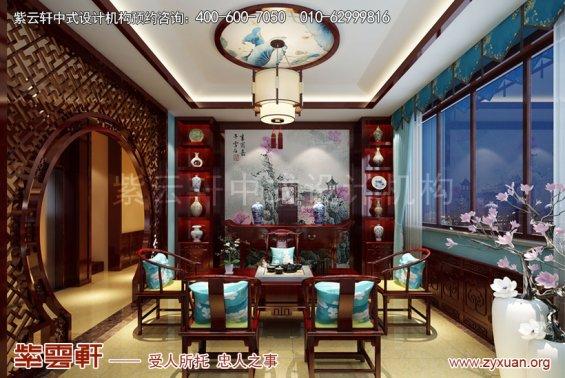 北京御汤山别墅中式装修效果图之东方艺术美,茶室中式装修图
