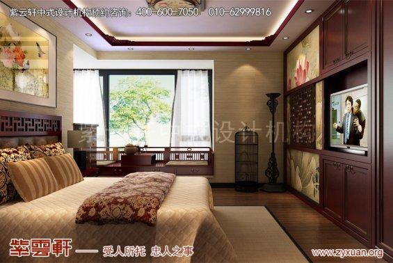 北京御汤山别墅中式装修效果图之东方艺术美,主卧中式装修图