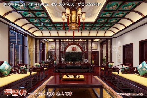 赤峰泰和王府刘总别墅中式设计案例,客厅中式设计图