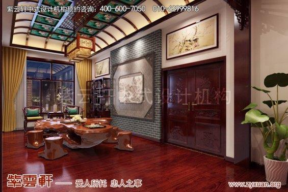 赤峰泰和王府刘总别墅中式设计案例,茶区中式设计图