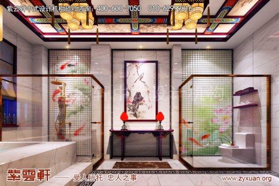 赤峰泰和王府刘总别墅中式设计案例,别墅卫生间中式设计
