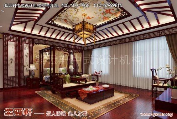 赤峰泰和王府刘总别墅中式设计案例,主卧中式装修图