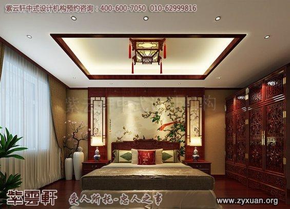 平层住宅古典中式风格装修案例,卧室中式装修图