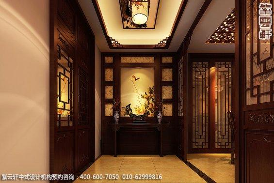 辽宁空中别墅古典中式设计案例,玄关中式装修效果图