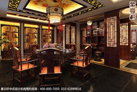 辽宁空中别墅古典中式设计案例,餐厅中式装修效果图