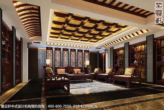 辽宁空中别墅古典中式设计案例,客厅中式装修效果图