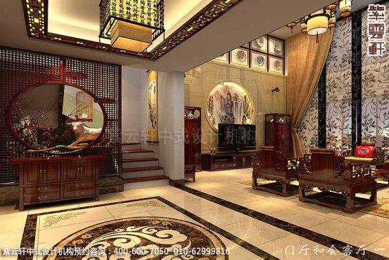 保定复式住宅简约中式设计案例,门厅中式装修效果图