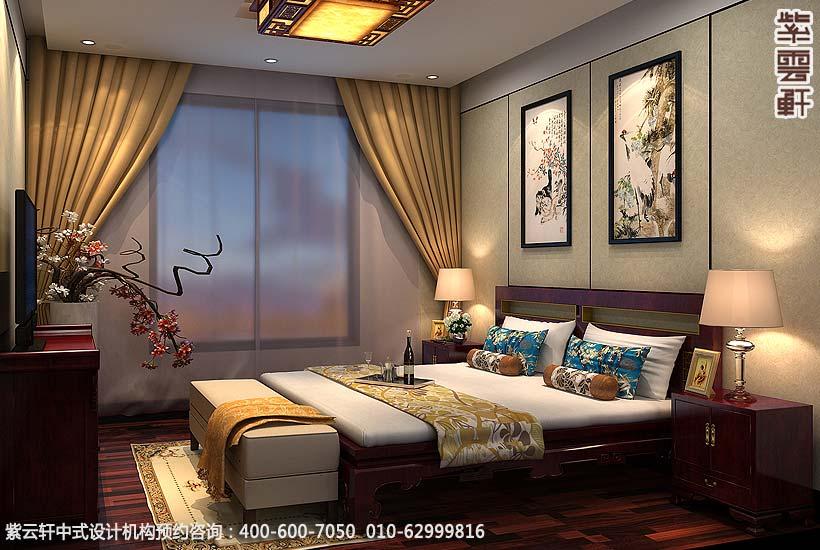 保定复式住宅简约中式设计案例,卧室中式装修效果图