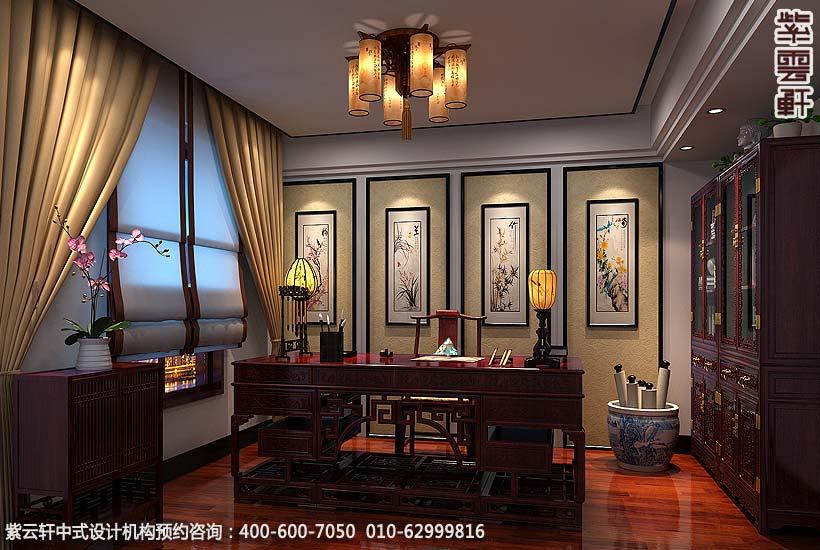 保定复式住宅简约中式设计案例,书房中式装修效果图