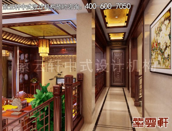 东阳范总别墅简约中式设计案例,过道中式装修效果图
