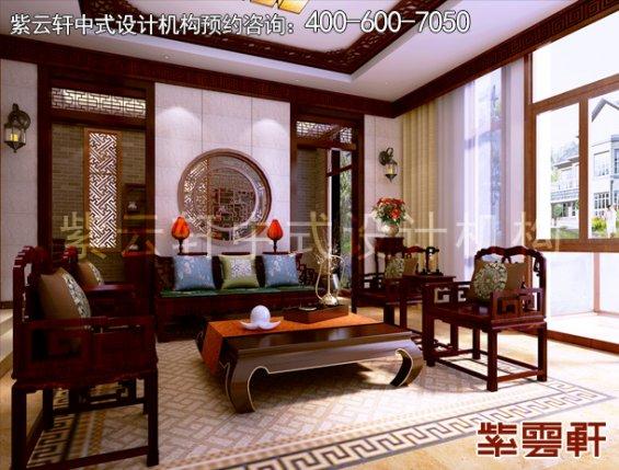 东莞别墅新中式设计案例,客厅中式装修效果图