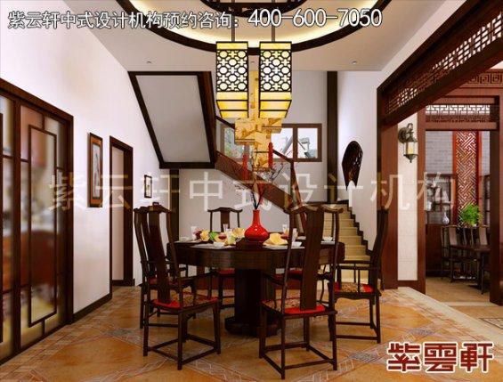 东莞别墅新中式设计案例,餐厅中式装修效果图